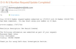 D-U-N-S Receipt Email