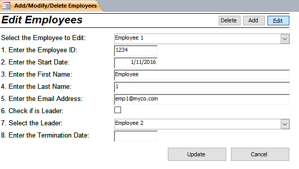 Employees - Form