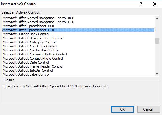 Office Spreadsheet 11.0