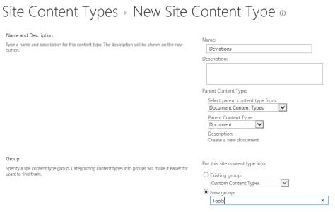 1. New Content Type