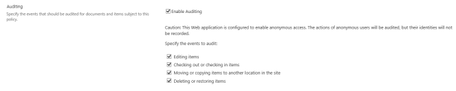5. Auditing Settings